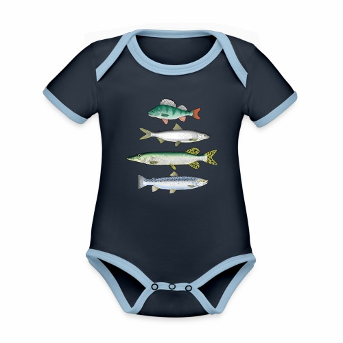 FOUR FISH - Ahven, siika, hauki ja taimen tuotteet - Vauvan kontrastivärinen, lyhythihainen luomu-body