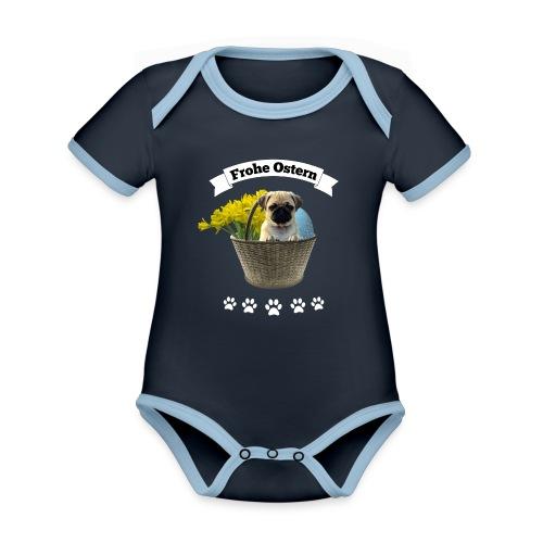 Frohe Ostern | Mops im Korb - Baby Bio-Kurzarm-Kontrastbody