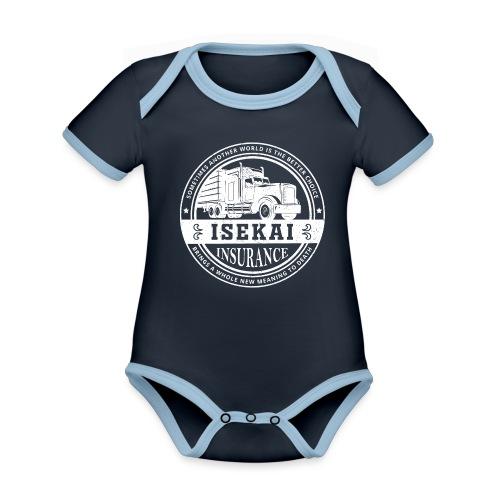 Funny Anime Shirt Isekai insurance Co. - White - Baby contrasterend bio-rompertje met korte mouwen