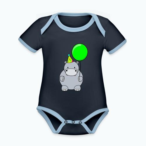 Henri Hippo Party - Appelsin - Ekologisk kontrastfärgad kortärmad babybody