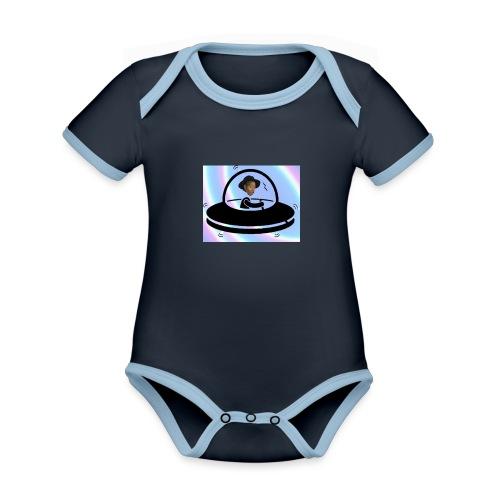 Adetoun UFO Logo Regenbog - Baby Bio-Kurzarm-Kontrastbody