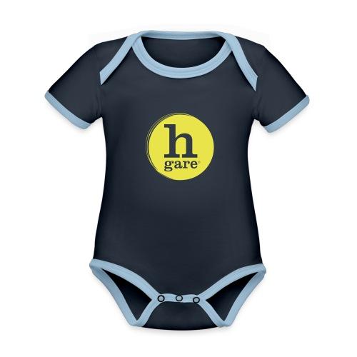 HGARE LOGO TONDO PIENO GIALLO - Body da neonato a manica corta, ecologico e in contrasto cromatico