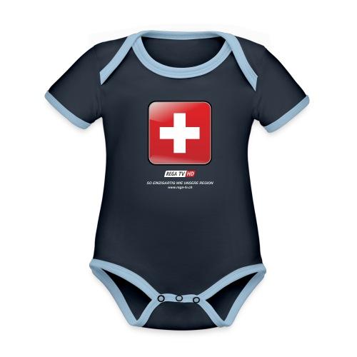 REGA-TV: Switzerland, weisse Schrift - Baby Bio-Kurzarm-Kontrastbody