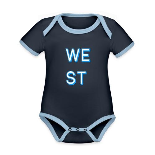 WEST LOGO - Body da neonato a manica corta, ecologico e in contrasto cromatico