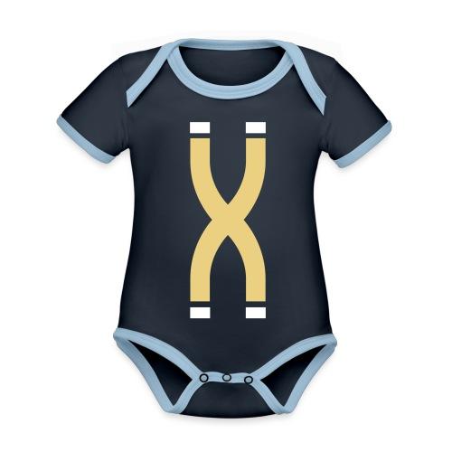 X logo #4 - Body da neonato a manica corta, ecologico e in contrasto cromatico