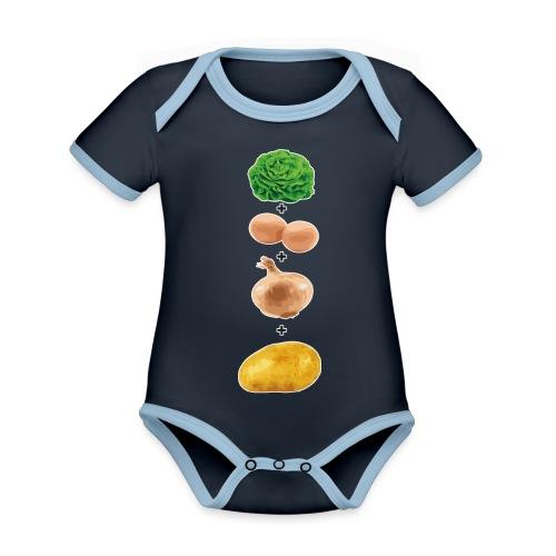 Slaoi Meej Aai Meej Juin Meej Èèrrepel - Baby contrasterend bio-rompertje met korte mouwen