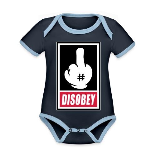 Fck Disobey vector 3 colors - Body Bébé bio contrasté manches courtes