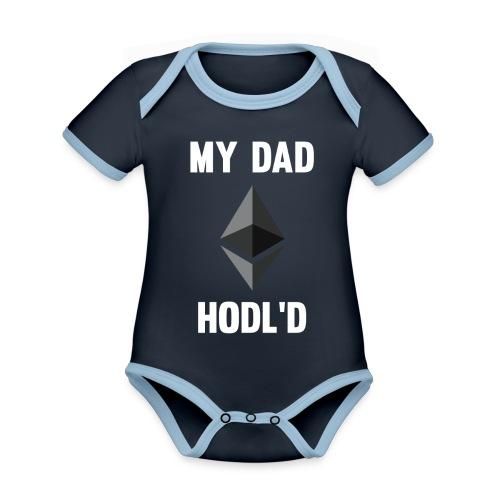 MY DAD HODL'D ETH - Baby contrasterend bio-rompertje met korte mouwen