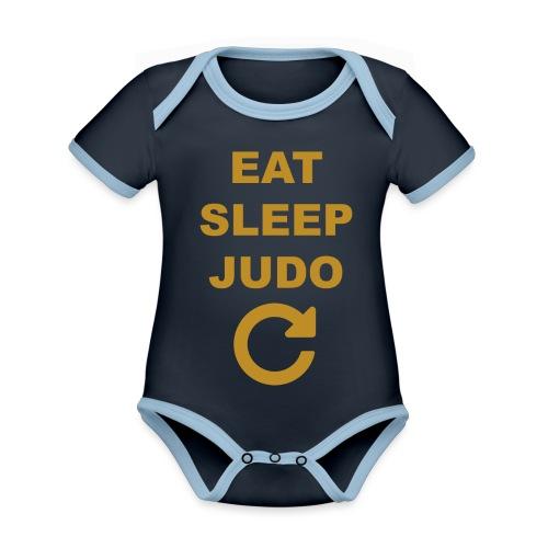 Eat sleep Judo repeat - Ekologiczne body niemowlęce z krótkim rękawem i kontrastowymi lamówkami