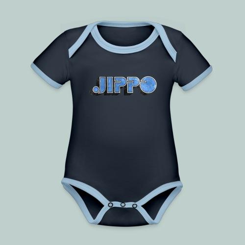 JIPPO LOGO (blue) - Vauvan kontrastivärinen, lyhythihainen luomu-body