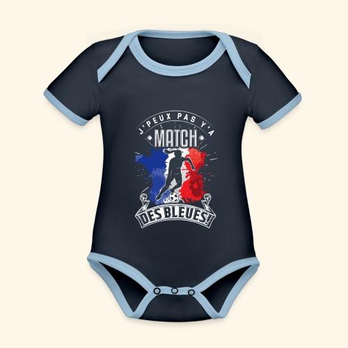 Les Bleues Footballeuse. Equipe de France féminine - Body Bébé bio contrasté manches courtes