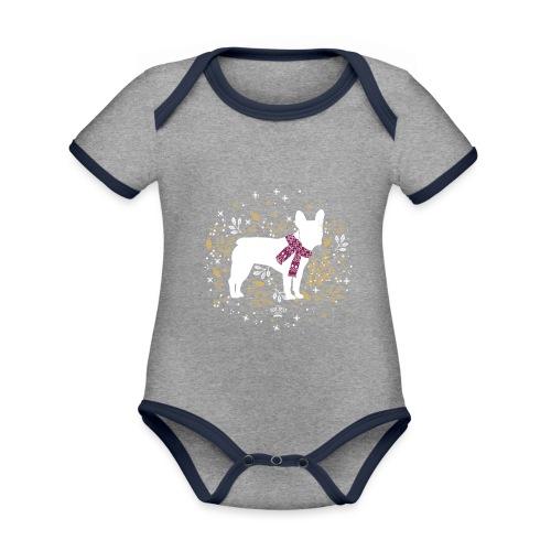 French Bulldog Winter - Baby Bio-Kurzarm-Kontrastbody
