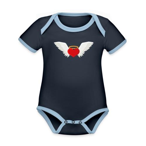Winged heart - Angel wings - Guardian Angel - Organic Baby Contrasting Bodysuit
