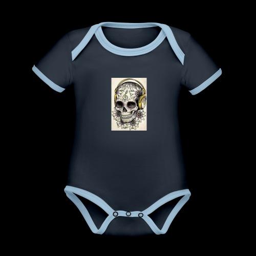 ab7a6a89ac2078fff2dd245fb15abaaf skull tattoo des - Baby contrasterend bio-rompertje met korte mouwen