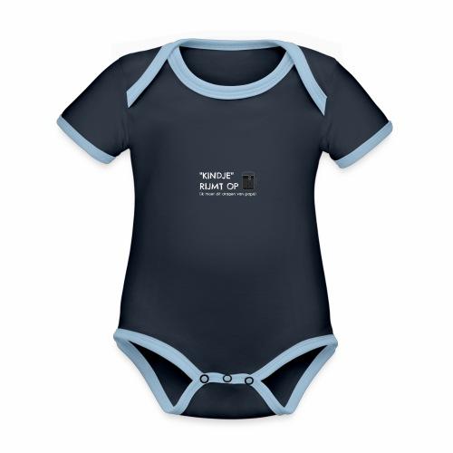 Kindje rijmt op Pintje - Baby contrasterend bio-rompertje met korte mouwen