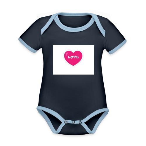 Spread shirt hjärta love - Ekologisk kontrastfärgad kortärmad babybody