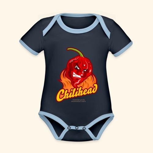 Chili Design Cartoon Chilihead | Grill T-Shirts - Baby Bio-Kurzarm-Kontrastbody