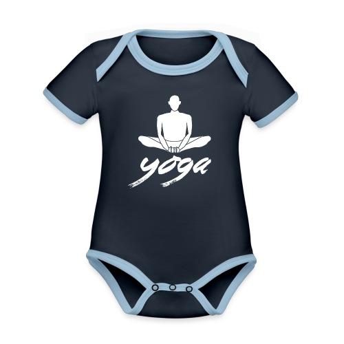 yoga bianco yogi namaste pace amore arte hippie - Body da neonato a manica corta, ecologico e in contrasto cromatico