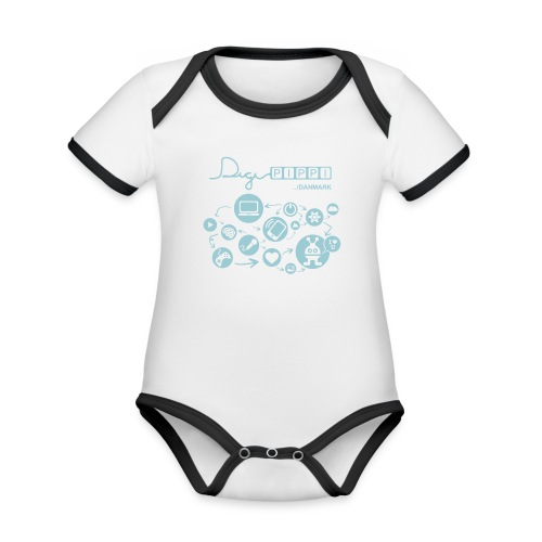 DigiPippi Danmark Blue - Kortærmet økologisk babybody i kontrastfarver