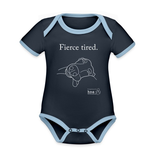 Fierce Tired Greyhound - Organic Baby Contrasting Bodysuit