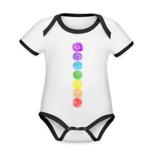 linea chakra - Body da neonato a manica corta, ecologico e in contrasto cromatico
