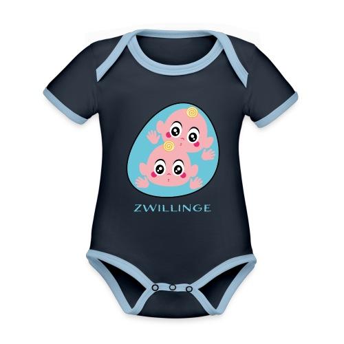 Tolles Geschenk für Zwillinge - Baby Bio-Kurzarm-Kontrastbody