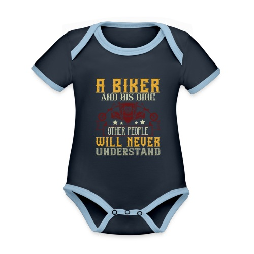 A biker and his bike. - Organic Baby Contrasting Bodysuit