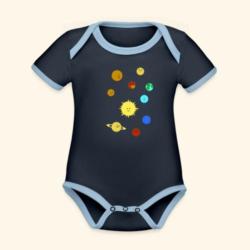 Solsystem svart - Ekologisk kontrastfärgad kortärmad babybody