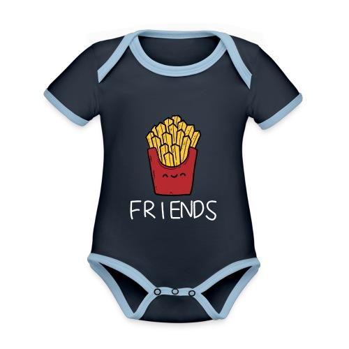 Burger und Pommes Best Friends Partnerlook - Baby Bio-Kurzarm-Kontrastbody