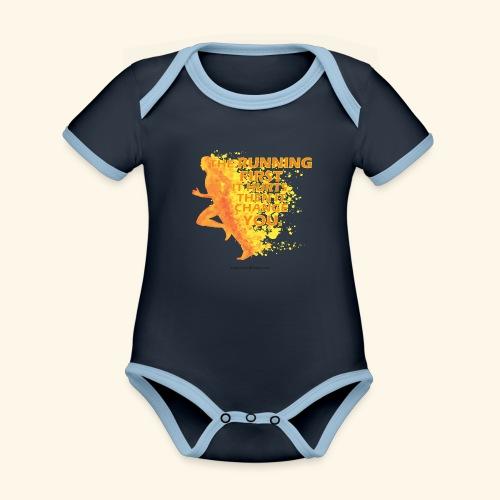 Motivo _ The Running First it Hurts - Body da neonato a manica corta, ecologico e in contrasto cromatico