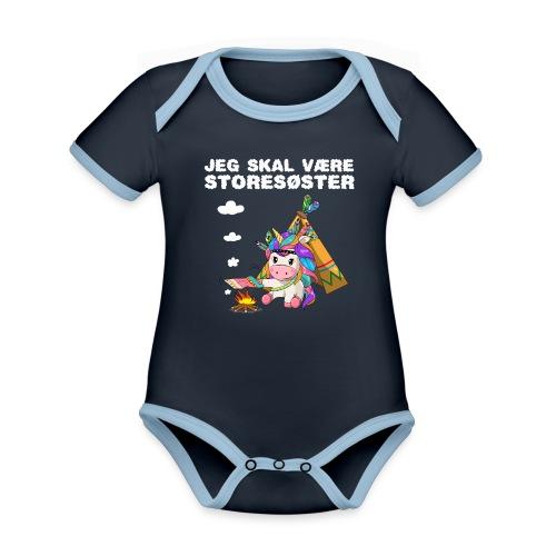 Jeg skal være storesøster enhjørning gave fødsel - Kortærmet økologisk babybody i kontrastfarver