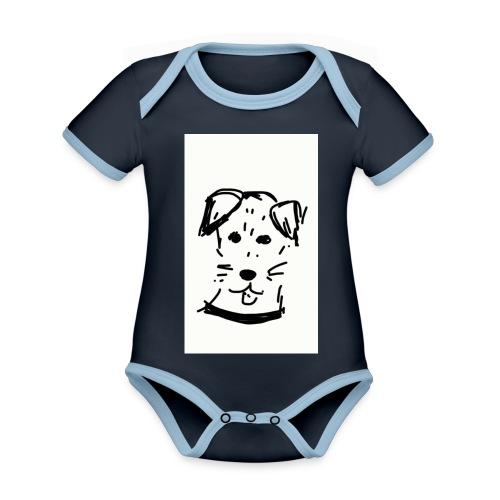 piesek - Ekologiczne body niemowlęce z krótkim rękawem i kontrastowymi lamówkami