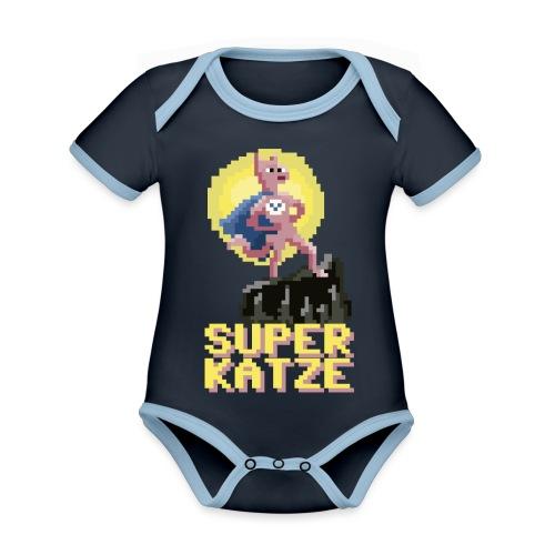 Die Superkatze - Baby Bio-Kurzarm-Kontrastbody
