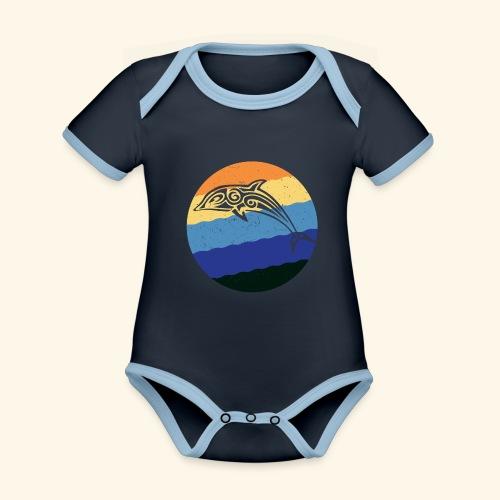 Greek Dolphin Retro - Organic Baby Contrasting Bodysuit