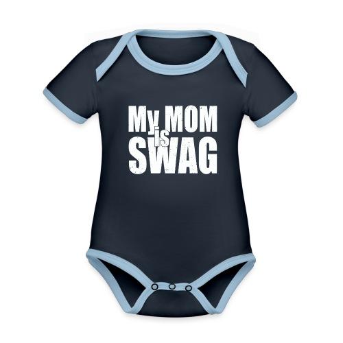 Swag White - Baby contrasterend bio-rompertje met korte mouwen