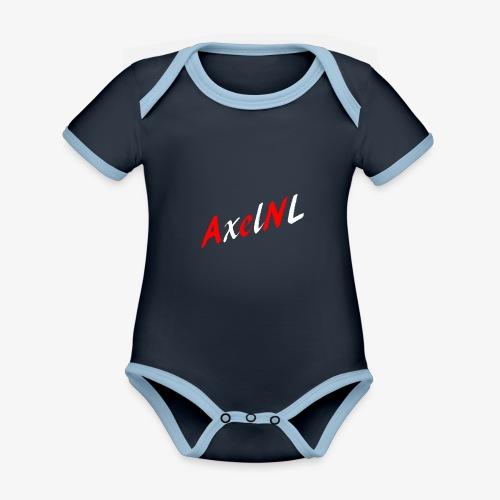 AxelNL - ROOD - Baby contrasterend bio-rompertje met korte mouwen