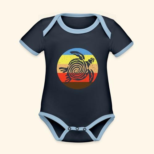 Barbudan Turtle Retro - Organic Baby Contrasting Bodysuit