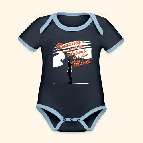 Filosofico - Runnig is one the best solutions - Body da neonato a manica corta, ecologico e in contrasto cromatico