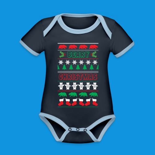 Beary Christmas.png - Organic Baby Contrasting Bodysuit