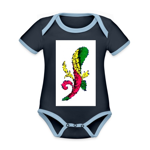 Asso bastoni - Body da neonato a manica corta, ecologico e in contrasto cromatico