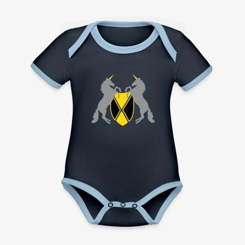 Unicorn Heraldry fantasy shield by patjila - Organic Baby Contrasting Bodysuit