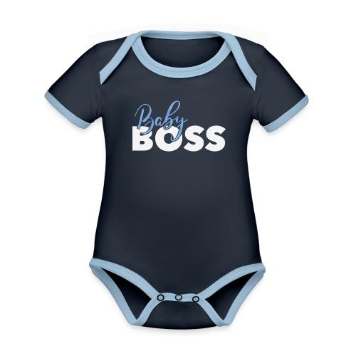 Baby Boss weiss blau - Baby Bio-Kurzarm-Kontrastbody