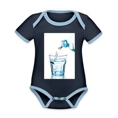 Glas-water-jpg - Baby contrasterend bio-rompertje met korte mouwen