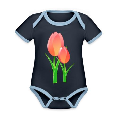 Belle fleur - Body Bébé bio contrasté manches courtes