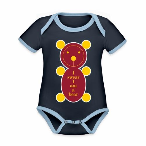 I swear I am a bear 001 - Baby contrasterend bio-rompertje met korte mouwen