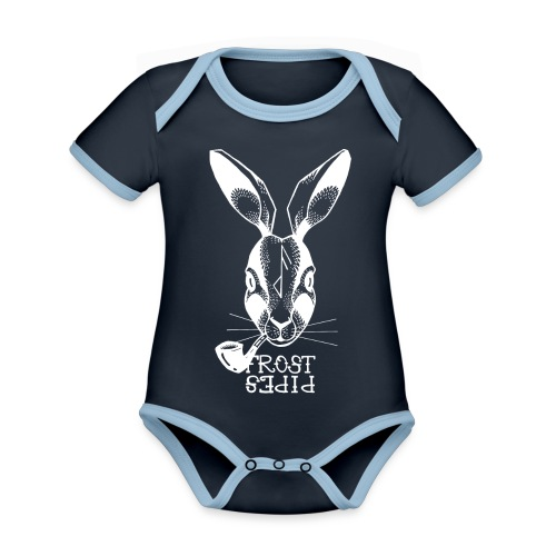Frost Pipes White Bunny - Organic Baby Contrasting Bodysuit