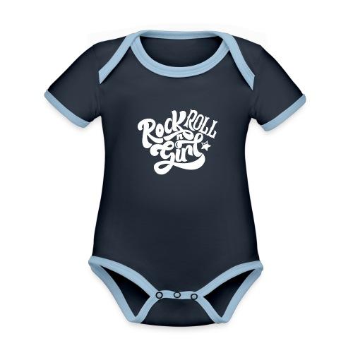Rock n Roll Girl - Vauvan kontrastivärinen, lyhythihainen luomu-body