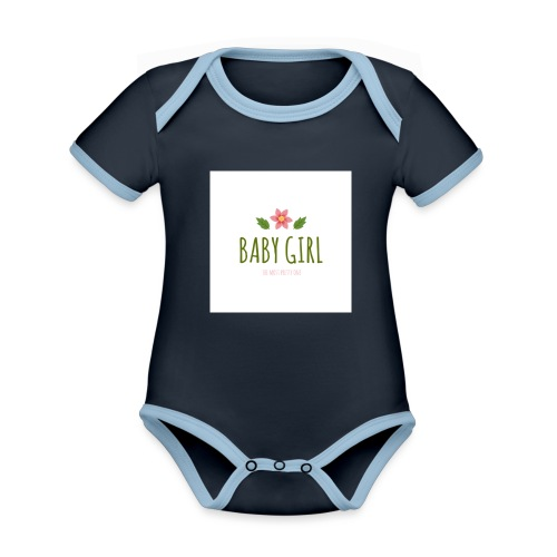 Baby Girl - Baby contrasterend bio-rompertje met korte mouwen