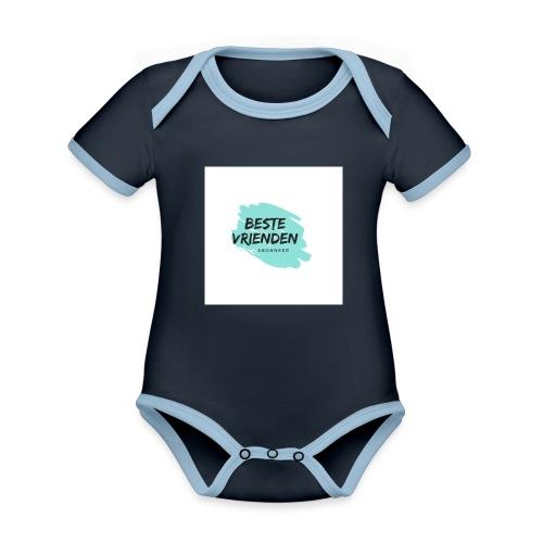 beste vriendeSpace - Baby contrasterend bio-rompertje met korte mouwen
