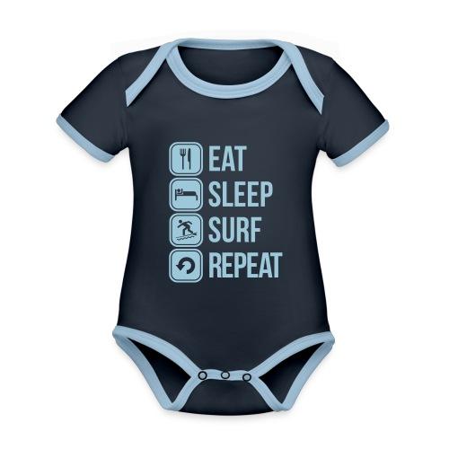 surfboard - Baby contrasterend bio-rompertje met korte mouwen